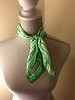 White & Green Polka Dot Silk Scarf