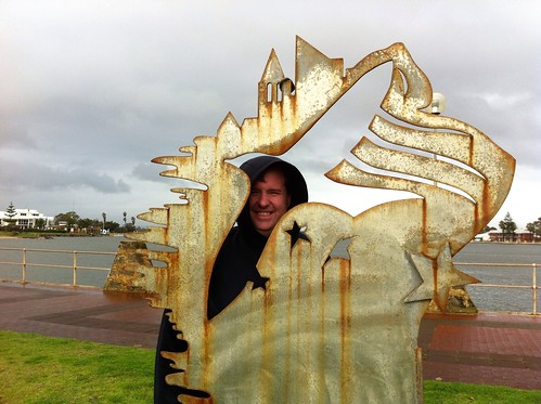 Morning Walk, 7 July 2014: Mike in front of sculpture (that I am behind)