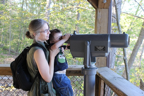 Elizabeth Hartwell Mason Neck Wildlife Refuge - Wood Marsh Trail - Vicky Holds Sagan Up to Look Through Telescope