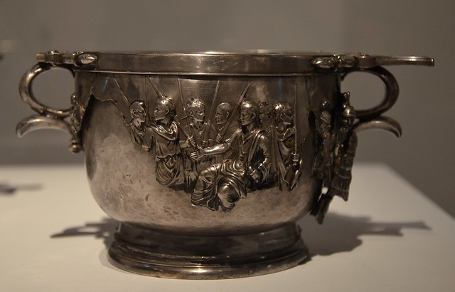 Skyphos from the Boscoreale Treasure depicting Augustus receiving the obeisance of vanquished Barbarians and personifications of subdued provinces, late 1st century BC - early 1st century AD, Moi, Auguste, Empereur de Rome exhibition, Grand Pal