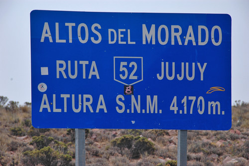 NW Argentina Road Sign near Cachi showing the altitude