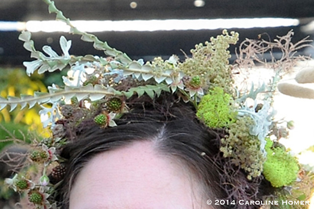 Close-up of Ann's hair adornments