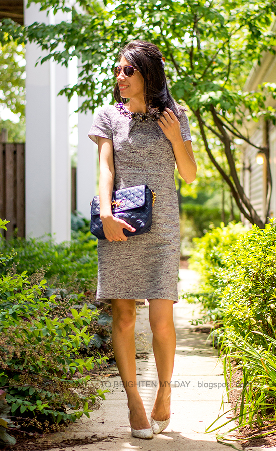 jeweled tweed dress, blue bag, snakeskin pumps
