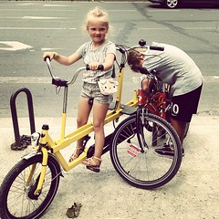 Kids and I on bikes all day in #paris today #thelulu #thefelix