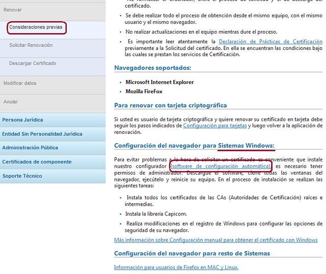 Renovar certificado- Consideraciones previas