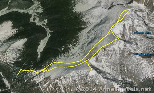 Visual map of the Chapin / Chiquita / Ypsilon Loop, Rocky Mountain National Park, Colorado