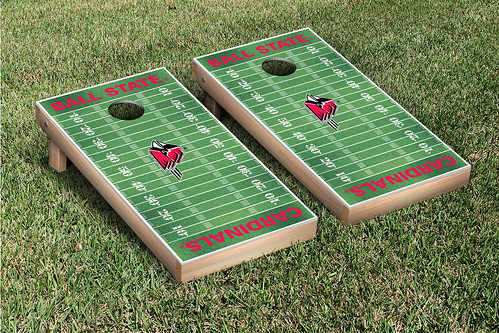 Ball State Cardinals Cornhole Bag Toss Game Set Football Field