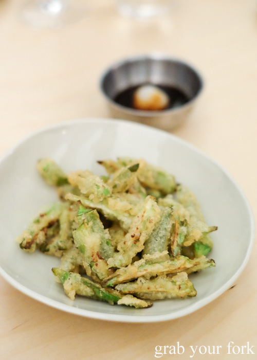 Tempura okra at Potts Point, Sydney