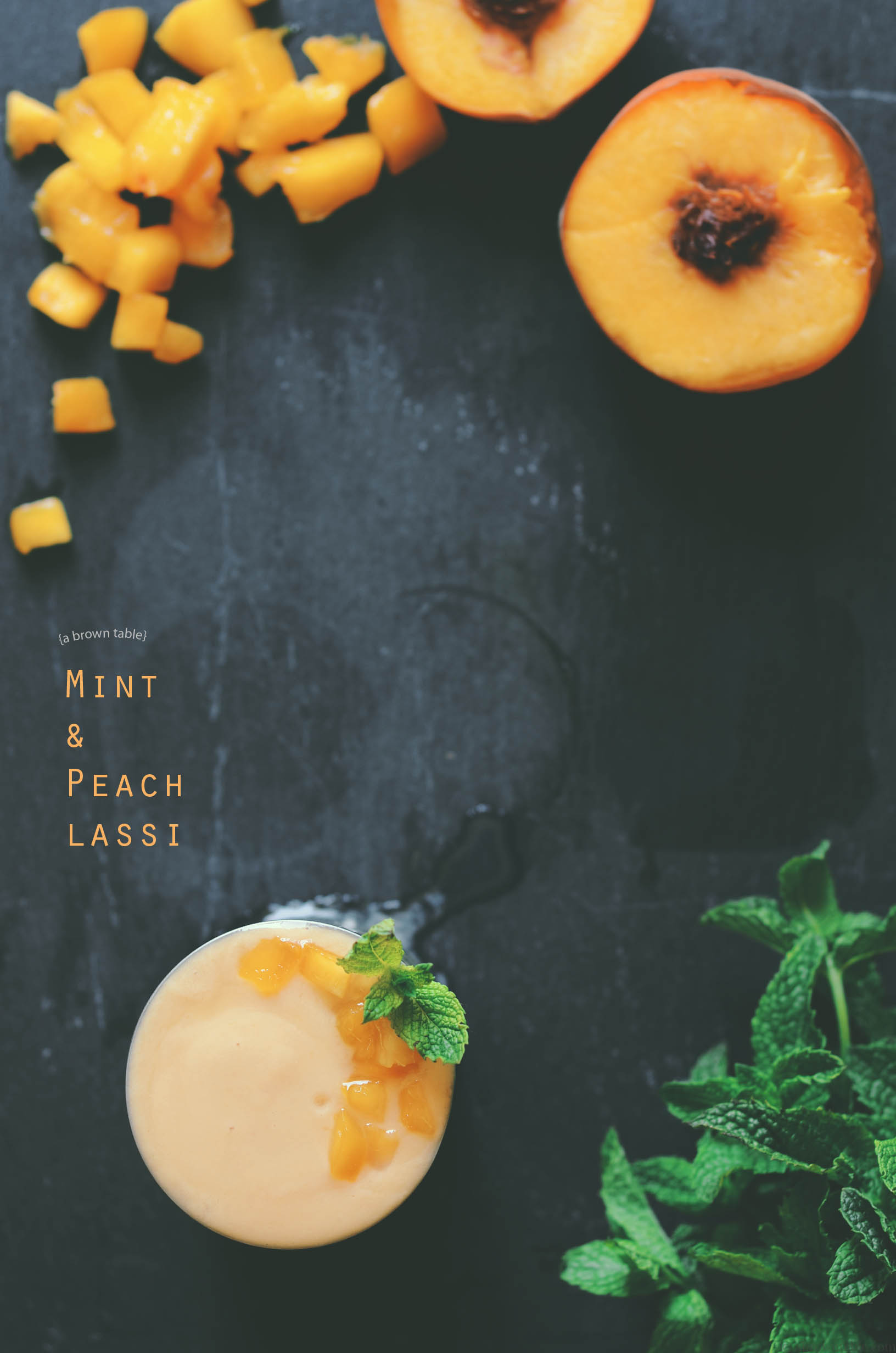 peach with mint lassi drink