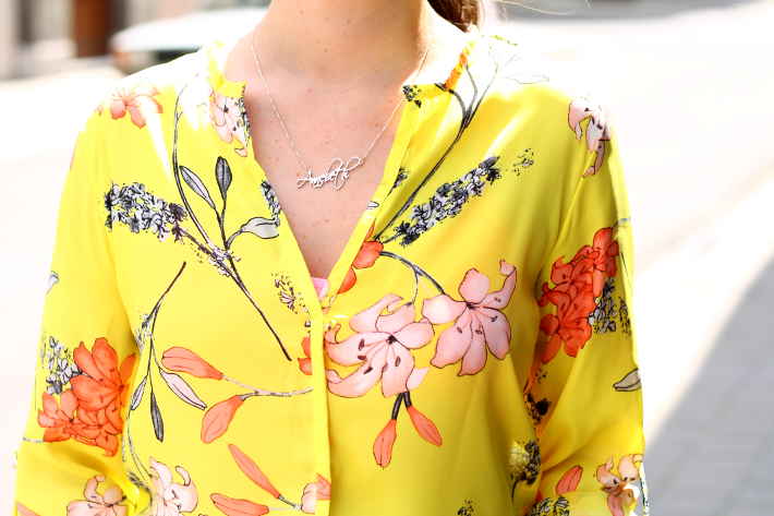 oasap yellow floral blouse name necklace