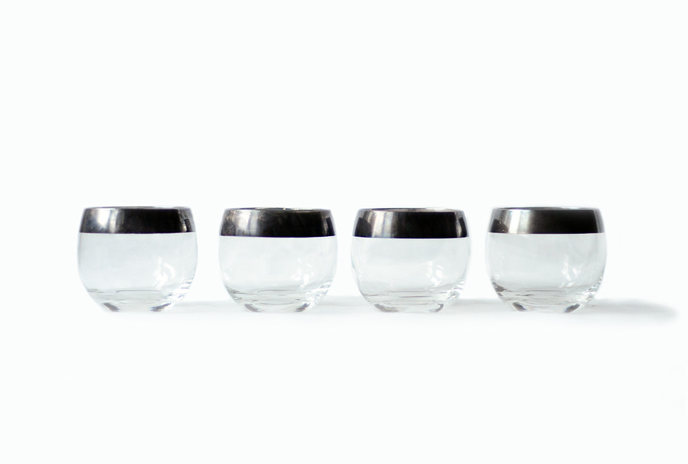 Four Vintage Stemless Metal and Glass Wine Glasses