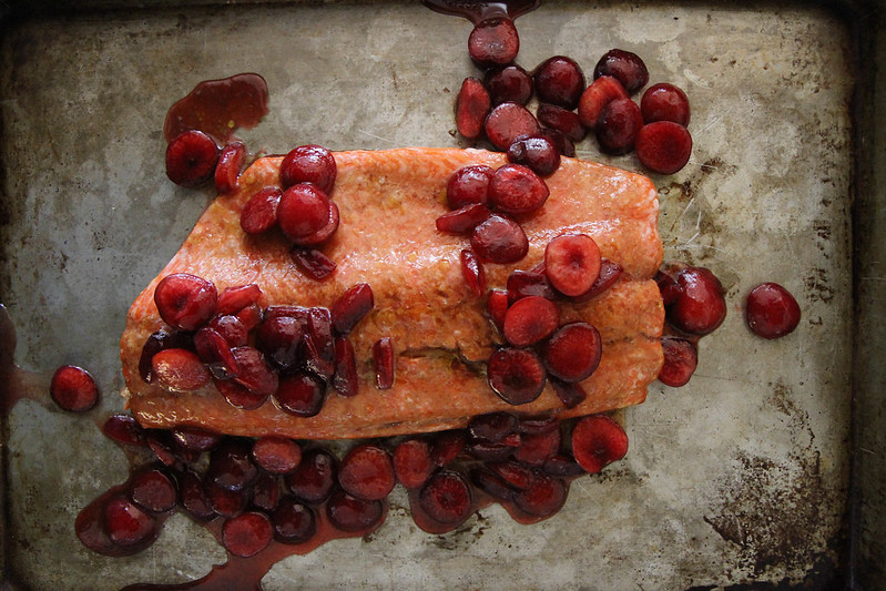 Roasted Balsamic Salmon with Honey Glazed Cherries
