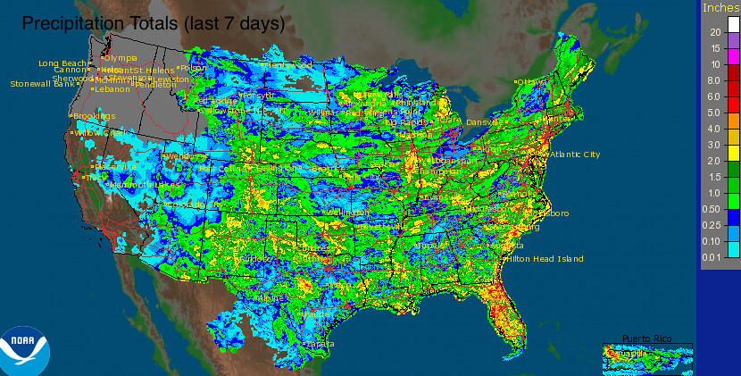 united states 7 day rainfall totals