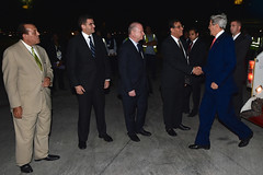 U.S. Secretary of State John Kerry is greeted by Egyptian and U.S. officials as he arrives in Cairo on July 21, 2014, in support of efforts to reach a ceasefire between Israel and Hamas amid their battle in Gaza. [State Department photo/ Public Domain]