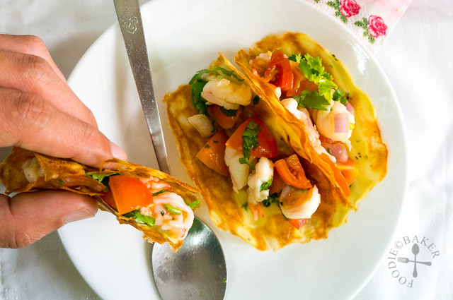 Potato Tuiles with Prawn Salsa