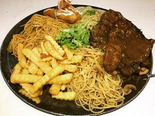 Platter A - Lamb Chop, 3 types of spaghetti (cajun tomyam, carbonara and Aglio olio), Fried Dory and Fries. All for RM45. Darn cheap.