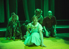Sun, 2017-03-19 21:08 - L to R: Christine Mayland Perkins as Scarecrow, Joey Steakley as Toto, Kara Davidson as Dorothy, Michael E Smith as Cowardly Lion, Jeremy Sonkin as Tin Woodsman
