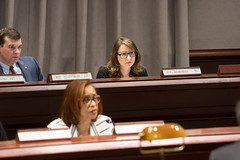 Judiciary Committee Ranking Member Rep. Rosa Rebimbas listens intently during a recent public hearing.