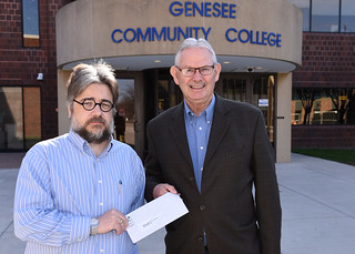 Fri, 04/14/2017 - 09:20 - GCC Associate Professor of History and History Club Advisor Derek Maxfield presents a $250 donation check on behalf of the History Club to Attica Historical Society President Dean June.