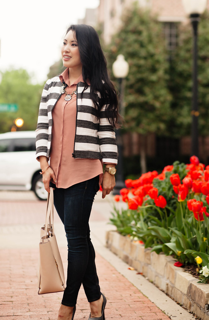 cute & little blog | loft boxy striped jacket, pink shirt, rag bone skinny jeans, chloe + isabel statement necklace | spring outfit