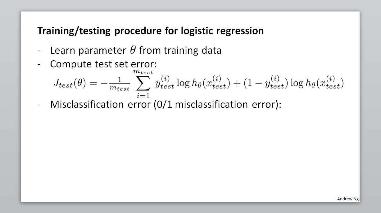 Training/testing procedure for logistic regression