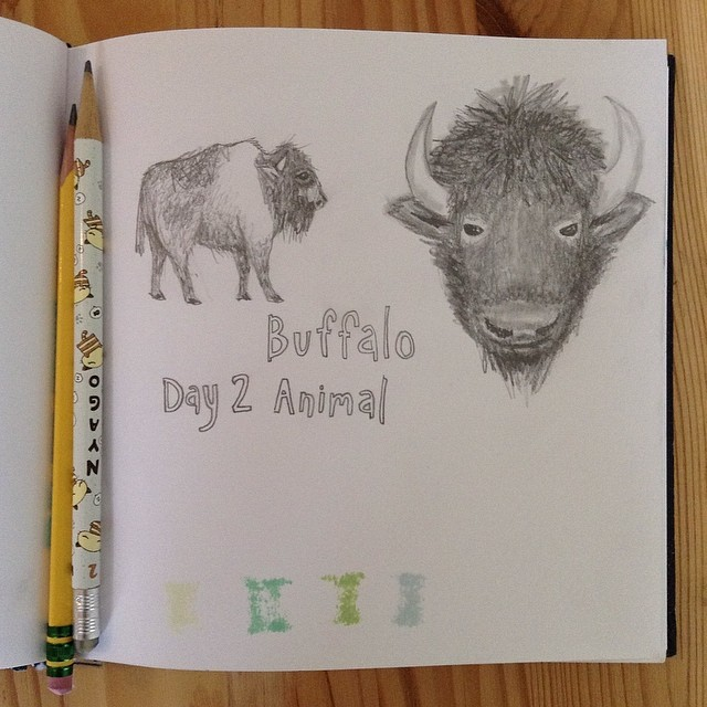 And #day2 of the #15daydrawingchallenge. #animal #buffalo