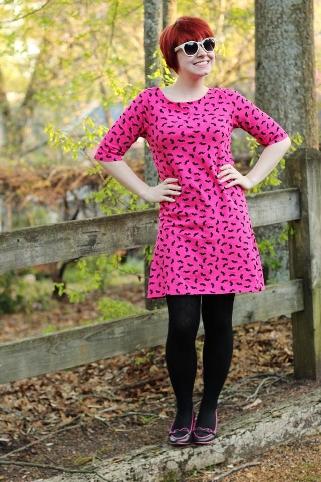 891f59a2959 Pink Mustache Print Shift Dress