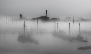 Masts in the mist