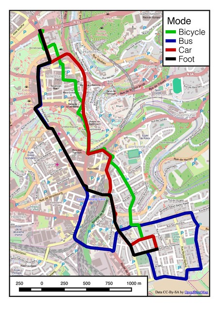 Map of modal paths in Luxembourg