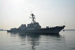 USS Wayne E. Meyer (DDG 108) arrives in Busan April 24.(U.S. Navy/MCC Wendy Wyman)
