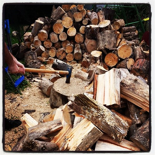 My beloved splitting wood to keep us toasty warm during winter is right up there in happy making for me. #hiskindofromance #100happydays