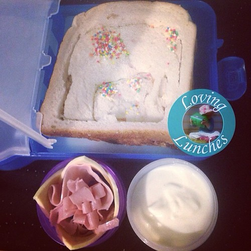 Loving a lazy lunch for tomorrow. Miss M is still requesting Indian elephants after @roushinisfunidia 's visit last week. Jam sandwich, milk bottle below, ham and cheese flower, yogurt. All in @nudefoodmovers. Sandwich cut with @thelunchpunch