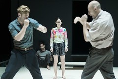 Luke Norris (Rodolpho), Emun Elliott (Marco), Phoebe Fox (Catherine) and Mark Strong (Eddie). Photo by Jan Versweyveld.