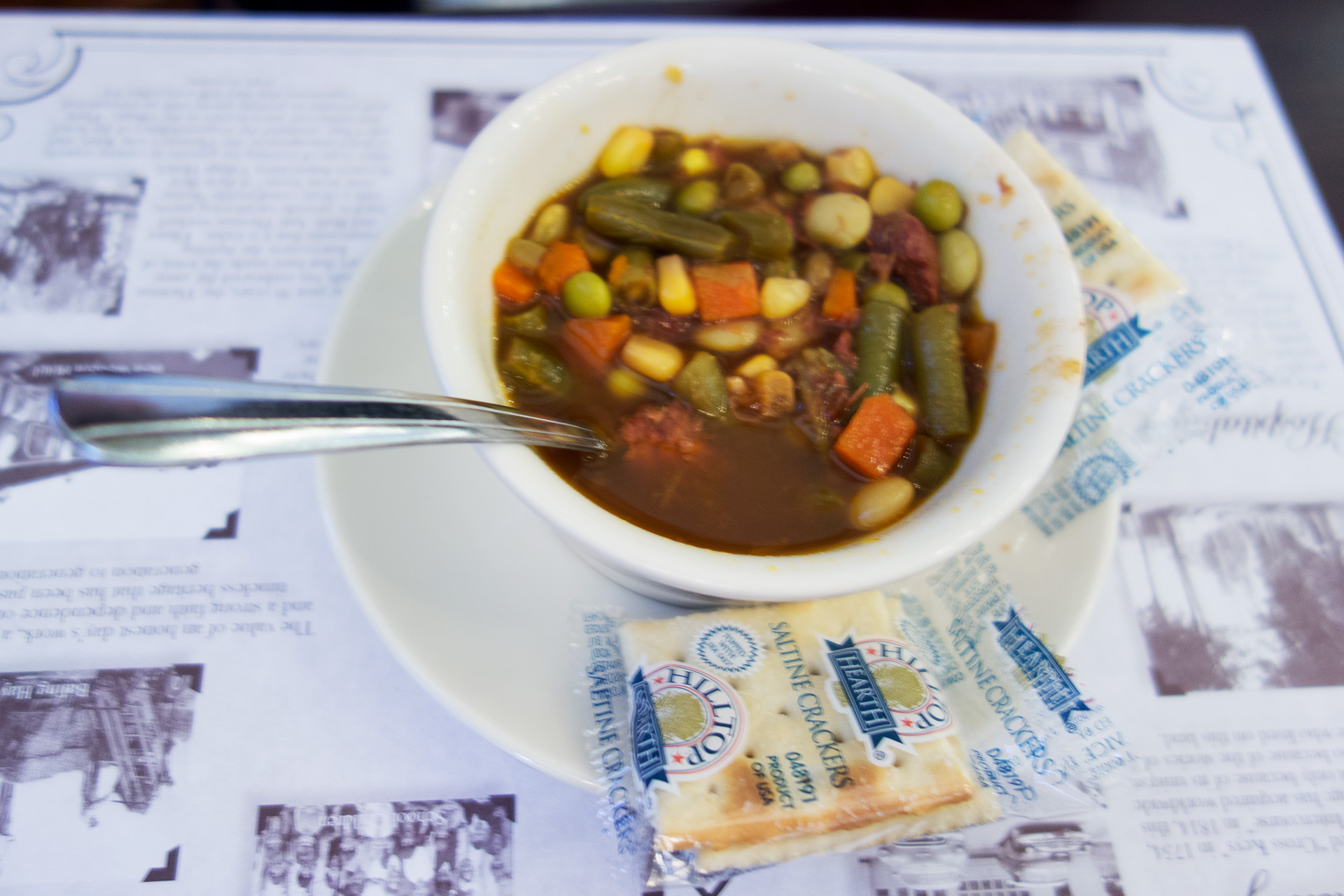 The best vegetable soup Heather has ever had, Olde Mill Restaurant.