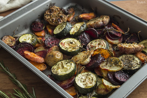 Baked vegetables with salmon.