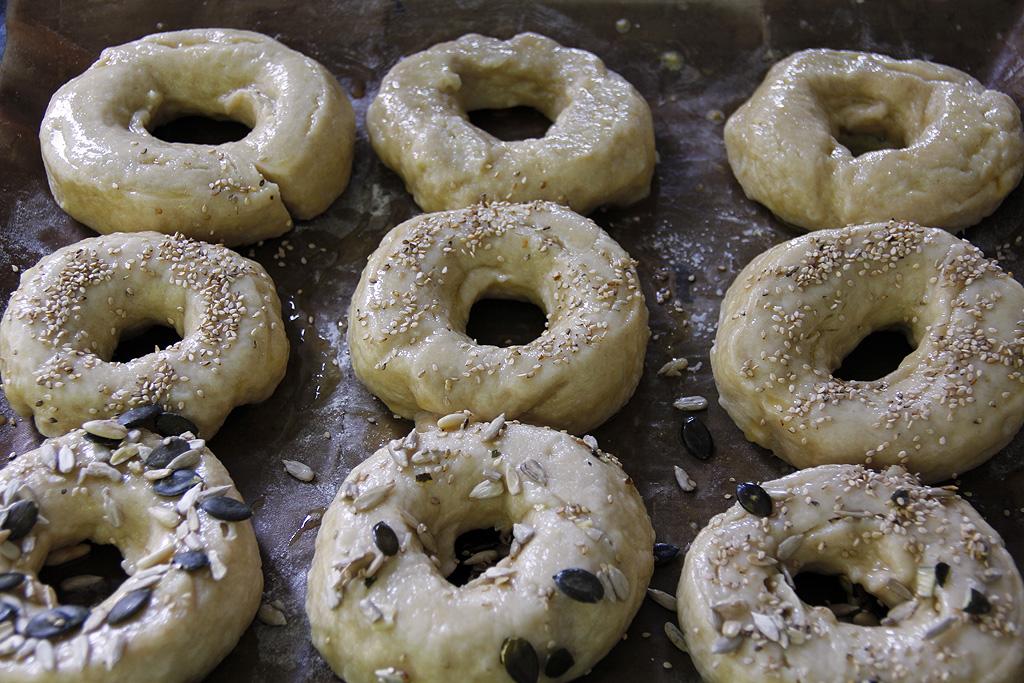 Bagels before baking