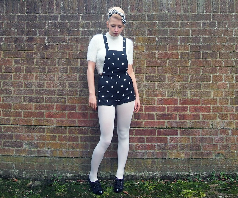 Sam Muses, UK Fashion Blog, London Style Blogger, H&M, Dungarees, Shorts, Polka Dots, Spots, Playsuit, Monochrome, Primark, Heart Print, Hair Band, Dolly Bow Bow, White, Cropped Eyelash Jumper, Fluffy, White Tights, How to Wear, Styling Ideas, Outfit Ideas