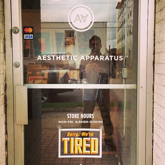 SORRY WE'RE TIRED selfie in the @aestheticapparatus window #latergram