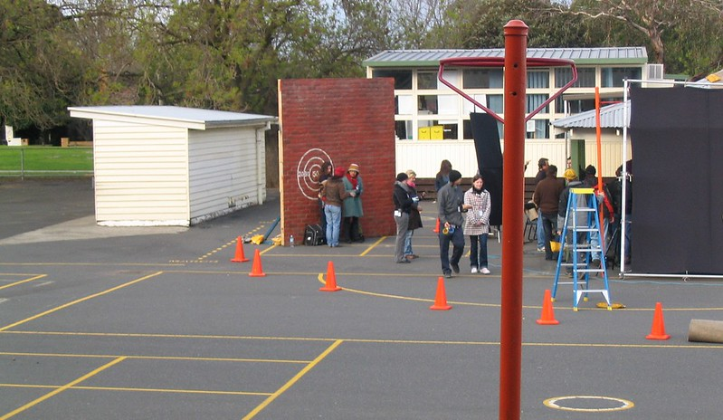 Filming in the school yard, June 2004