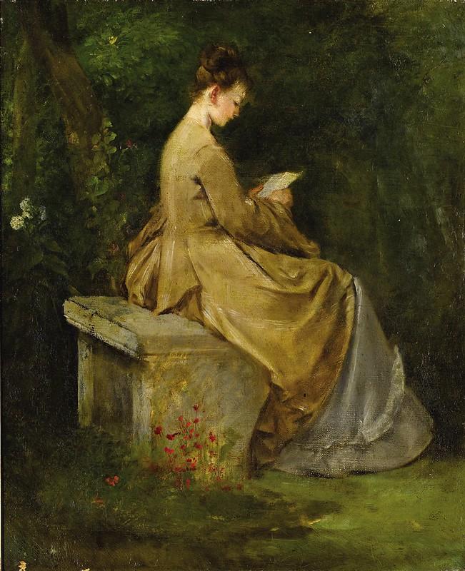 Maria Fortuny (atribuido) - Mujer leyendo en un banco (c.1860)