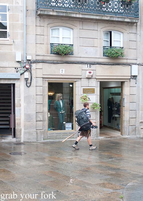 Pilgrim on the Way of St James in Santiago de Compostela, Spain