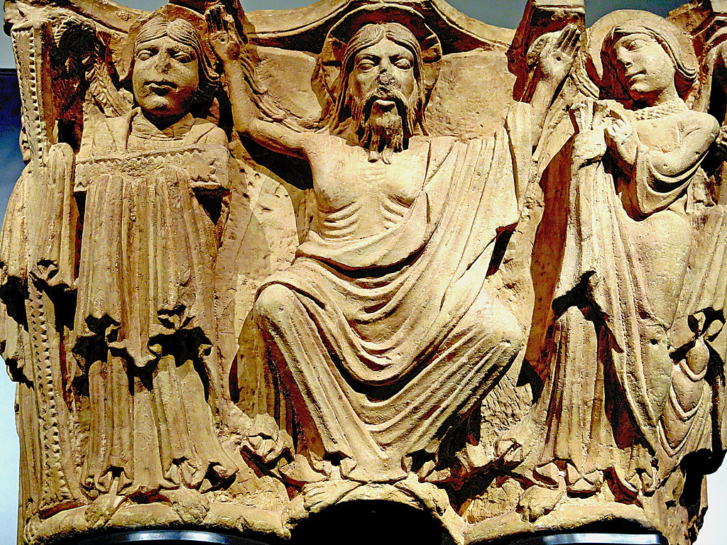 Capiteles de la iglesia de Monasterio de Aguilar de Campoo: Cristo mostrando los 'arma Christi' o instrumentos de la pasión