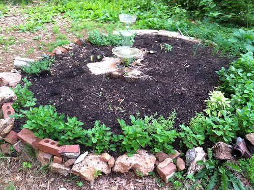 Herb Circle with Reclaimed Glass Birdbath