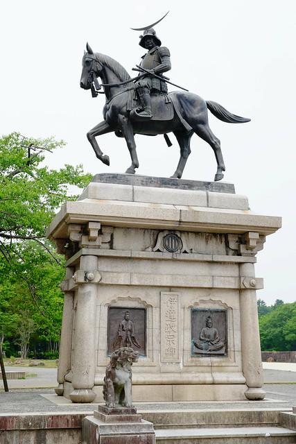 Masamune Date mounted Statue