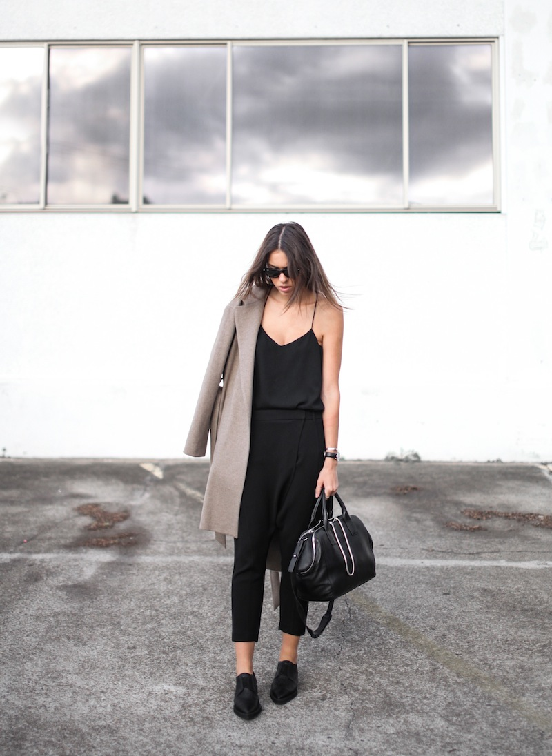modern legacy blog street style off duty Zara camel long coat Camilla and Marc Zoya Cami Hacker drop crotch pant all black Helmut Lang Benday oxford perforated leather sale Alexander Wang chain bag clean masculine minimalist (1 of 14)