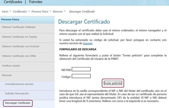 Renovar certificado - Descargar certificado