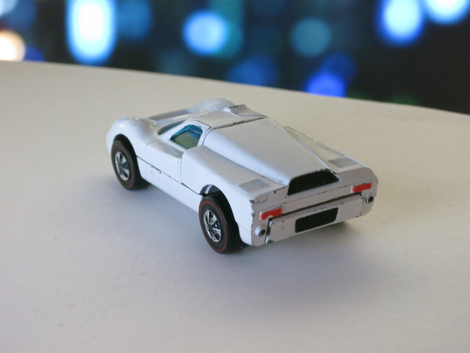 Hot Wheels Redline Early Production White Ford J-Car HK Hidden Hinge