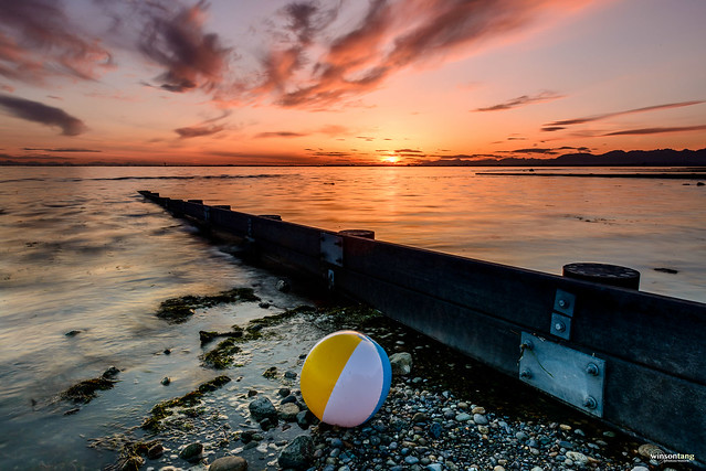 Beach Ball and the Magic Hour at Crescent Beach, Surrey, BC, Canada