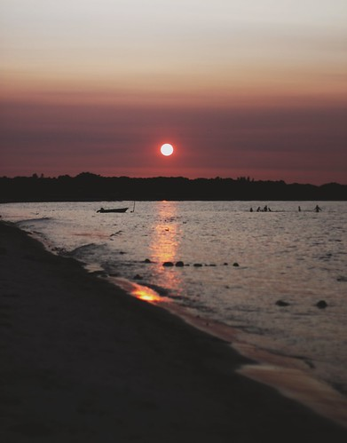 ocean pink light sunset sea summer sky people sun beach water silhouette forest dark denmark evening boat july baltic