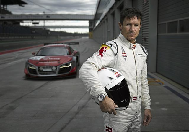 Felix Baumgartner poses for a portrait during a practice session with the Audi R8LMS in Lausitzring, Germany on November 28th, 2013 // Bernhard Spöttel / Audi / Red Bull Content Pool // P-20140307-00101 // Usage for editorial use only // Please go to www.